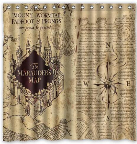 Carte harry potter conception polyester tissu rideau de douche 180x180 cm tanche mildewproof - Rideau de douche 180x180 ...