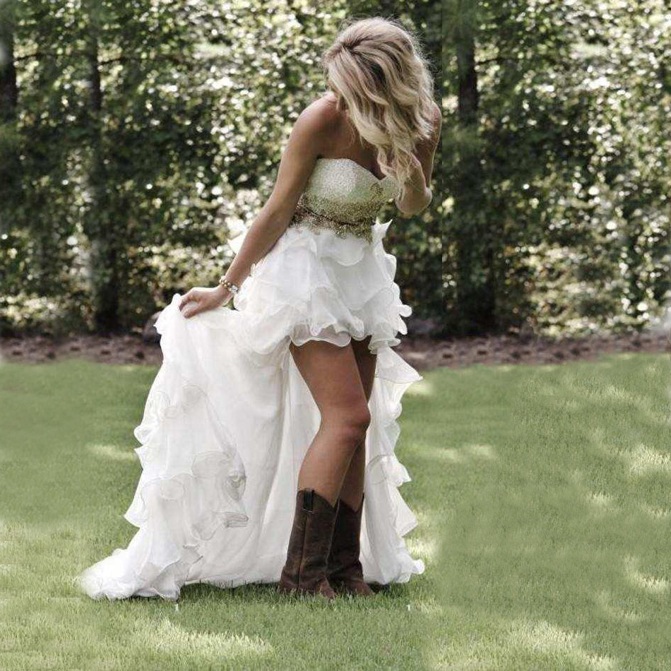 Modest High Low Country Style White Wedding Dresses 2019