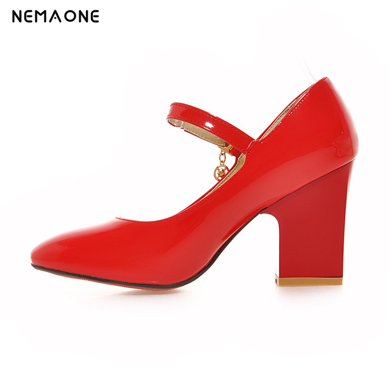 NEMAONE 2017 New spring and autumn Fashion thick High Heels square Toe women Shoes Sexy Buckle mary jane women Pumps