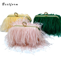 Luxury Real Ostrich Feathers Handbag Evening Bags Women's Pouch Purse Pink Green Diamond Clutch Party Messenger Bag For Ladies