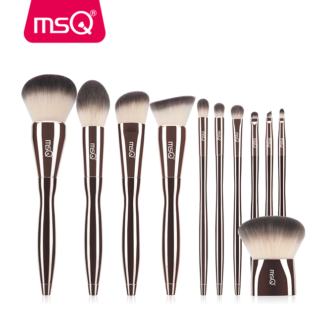 MSQ 11pcs Professional Makeup Brushes Set Powder Eyeshadow Foundation Make Up Brushes Comfortable Grip With a Diamond Makup Tool