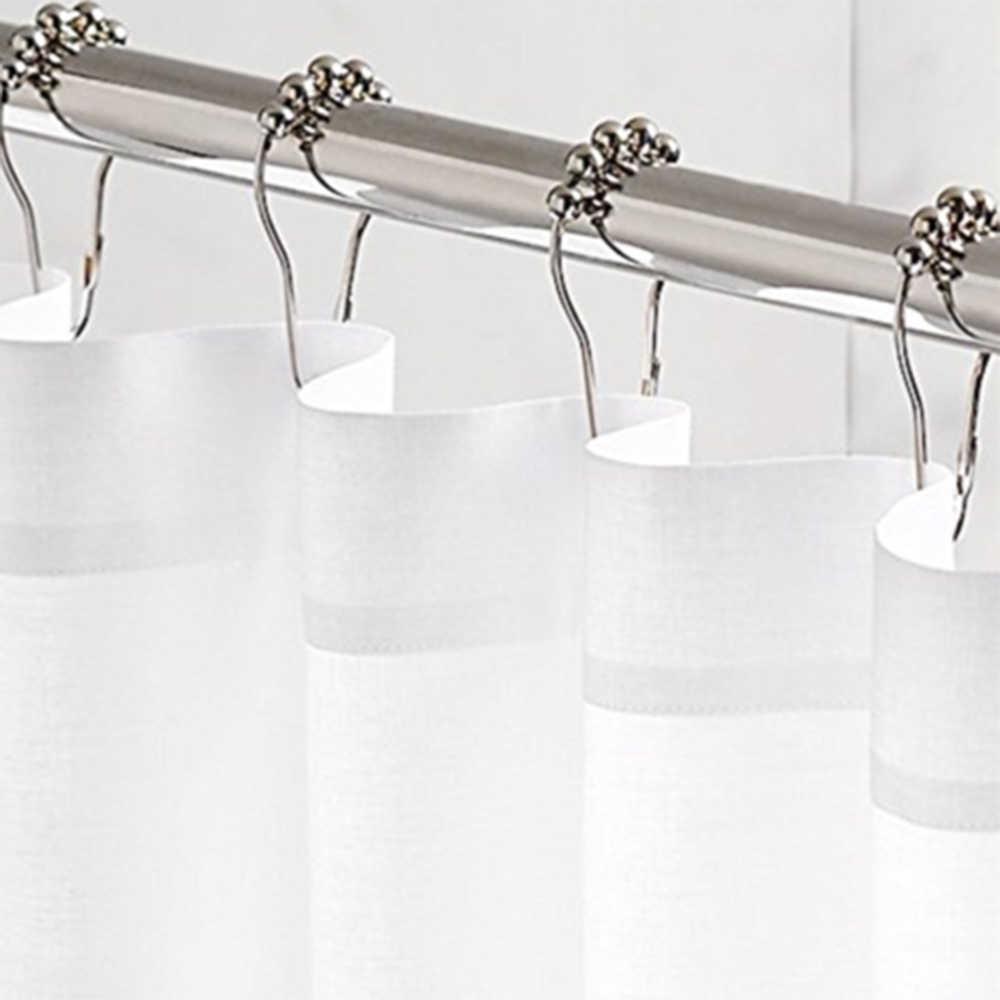 12 Uds Metal Doble deslizamiento baño Cortina De ducha gancho anillo bolas De rodillo Crochet De Rideau ganchos universales De Ducha