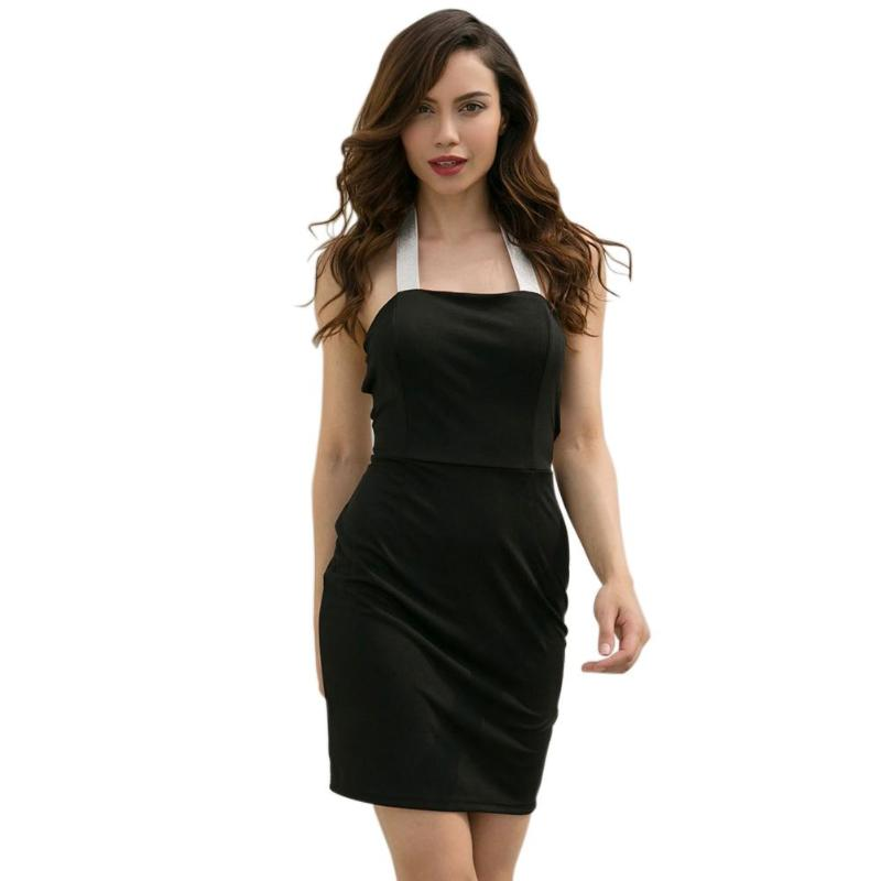 Summer Sexy Women Backless Bandage Patchwork Bodycon Halter Casual Dresses Party Solid Color Strapless Empire Mini Dress