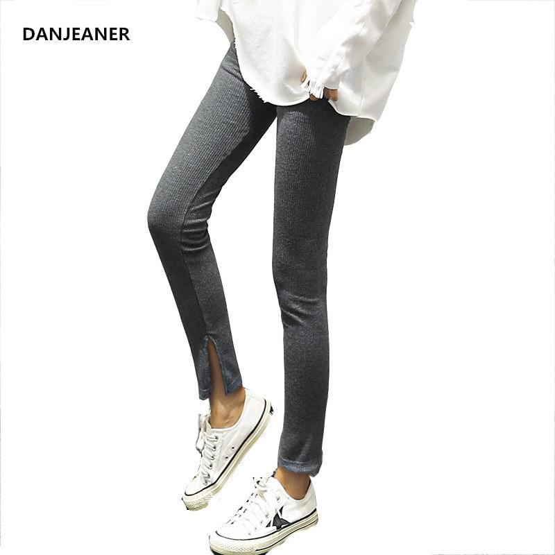 Danjeaner Women's Stretch Leggings Solid Color Slim Fit Skinny Pants Plus Size Push Up High Waist Warm Legging Ribbed Legins