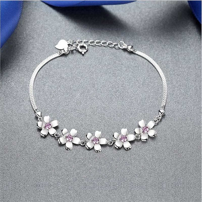 Everoyal Cute Crystal Pink Cherry Blossoms Bracelets For Girls Jewelry Fashion Silver 925 Women Bracelets Accessories Lady Gift in Charm Bracelets from Jewelry Accessories