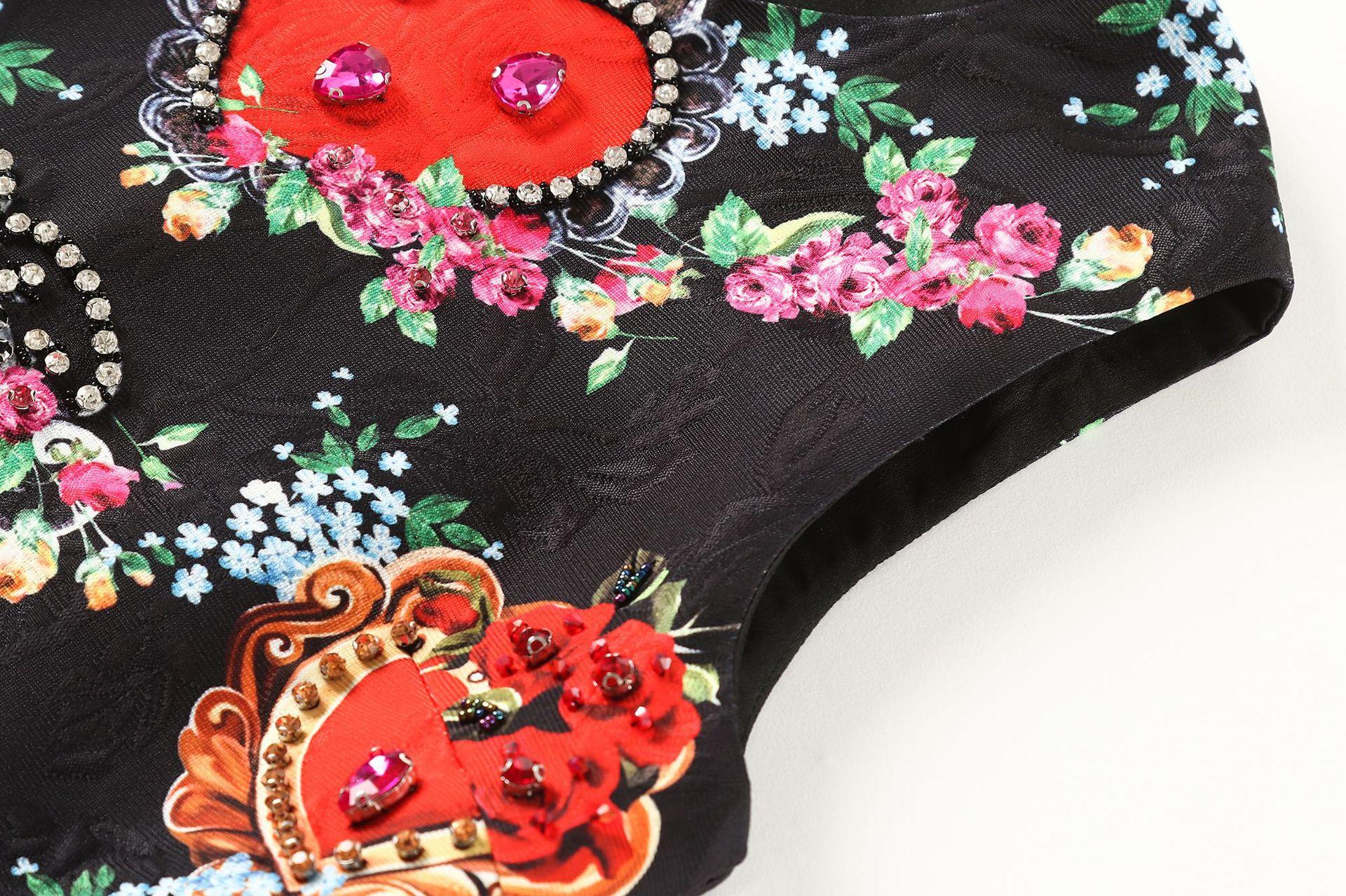Femmes Noire 2018 Perles Noir Piste Gilet Élégante Manches Imprimé Qualité Qyfcioufu Mode Haute Robe Floral Designer Soirée Sans De xAgq00n81