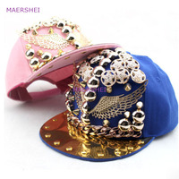 MAERSHEI Summer Eagle Kids Baseball Cap Punk Hip Hop Rivet Hat Hip Hop Boy Casual Snapback Flat Hat Wide Hat