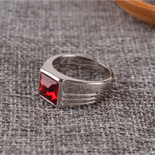 Male Stainless Steel Ring Blue Red Stone Jewelry Ring for Men Wedding