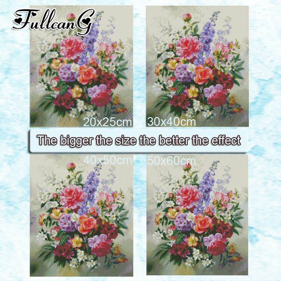 FULLCANG diy 5 pieces diamond painting quot magnolia flower quot full square round drill 5d cross stitch embroidery kits gift FC098 in Diamond Painting Cross Stitch from Home amp Garden