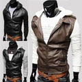 New Fashion Casual Patchwork Black Men's Slim Fit PU/Faux leather Cotton Hooded Jacket Coat Winter veste cuir femme pas cher