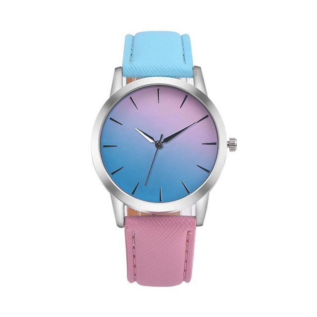 Casual Women Wristwatches Retro Rainbow Design Leather Band Analog Alloy Quartz Wrist Watch Clock relogio feminino Gift Classy