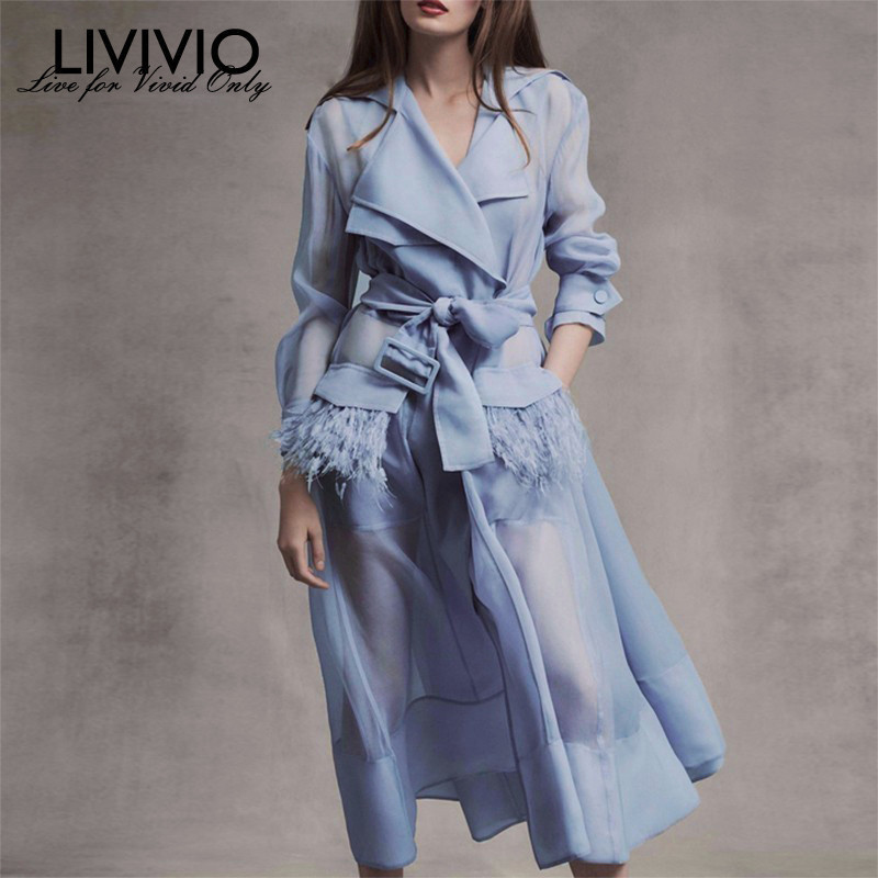 [LIVIVIO] Streetwear Two Piece Sheer Long   Trench   Dress Coat for Women Korean Clothes 2019 Summer Fashion Duster Windbreaker New
