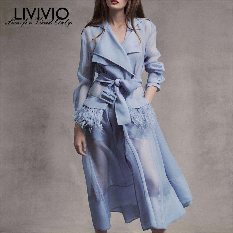 [LIVIVIO] Streetwear deux pièces pure longue Trench robe manteau pour les femmes vêtements coréens 2019 été mode Duster coupe-vent nouveau