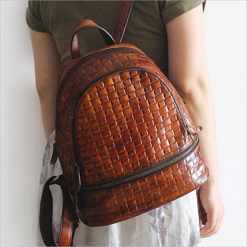 Die Brown Rindsleder Weibliche Farbe Design Neue Mode Muster Gewebte Original rot Rucksack Pd2112 Reiben Handgemachte Erste Ist Alavchnv Schicht qxYwnT6p