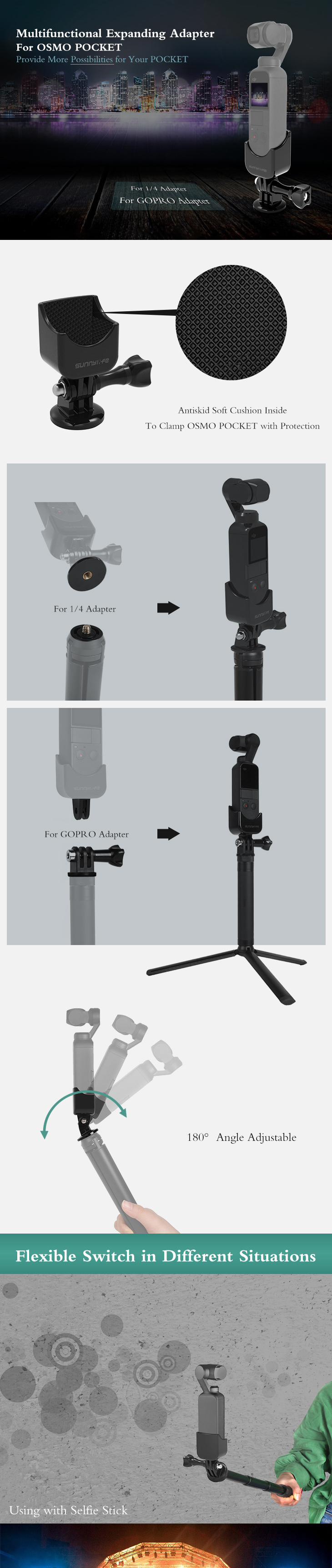 1/4 Adapter Multifunctional Expanding Switch Connection for OSMO POCKET gimbal Accessories 3