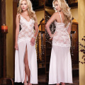 Hot White Sexy Long Lace Night Dress Transparent Night Gown Sheer Erotic Long Lingerie Women Sexy Nightwear Sleepwear D0268