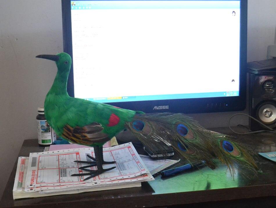 Nouveau simulaiton paon jouet polyéthylène & fourrures vert paon poupée cadeau environ 40 cm 2281