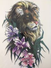 21 X 15 CM Sized Lion And Flower Temporary Tattoo Stickers Temporary Body Art Waterproof#29