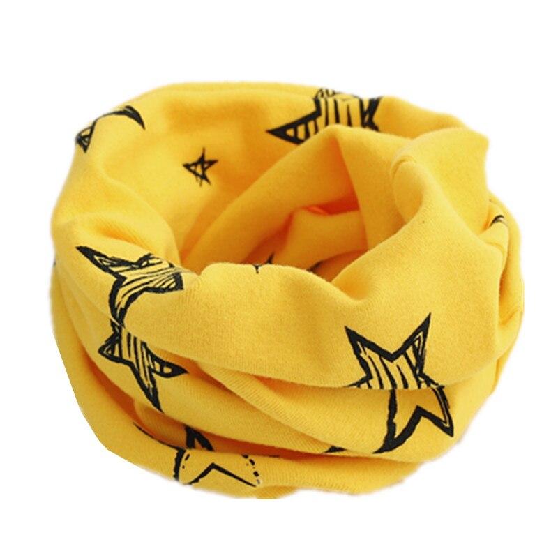 Осенне-зимний детский хлопковый шарф для девочек и мальчиков теплые шарфы Детский круглый кольцевой ошейник Детский шарф детский волшебный шейный платок - Цвет: yelllow star
