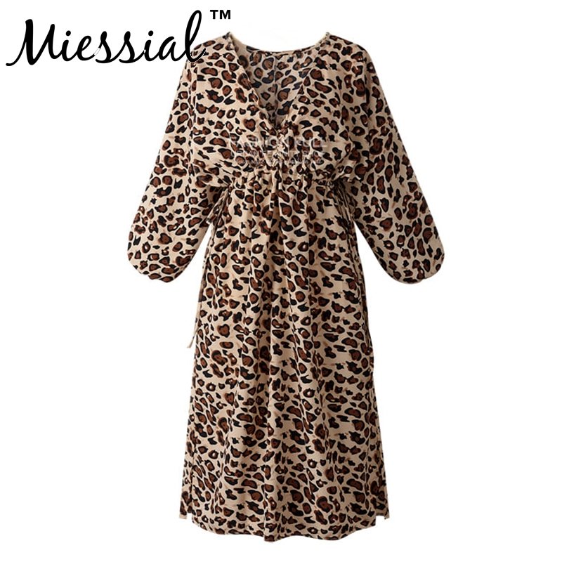 Miessial Autumn Sexy Leopard Dress Women V Neck Long Sleeves long Dress Vestido Casual Autumn Ladies Clothes Big Size 2019