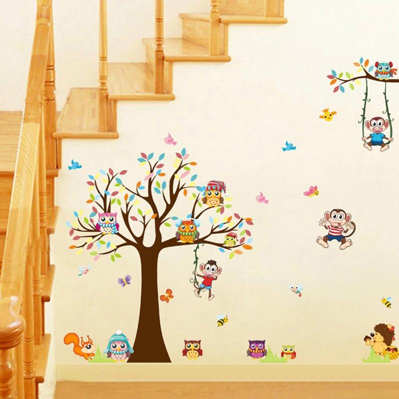 DIY Ağacları Meymun Bayquş Şirin Heyvan Divar Stikeri Uşaqlar - Ev dekoru - Fotoqrafiya 5