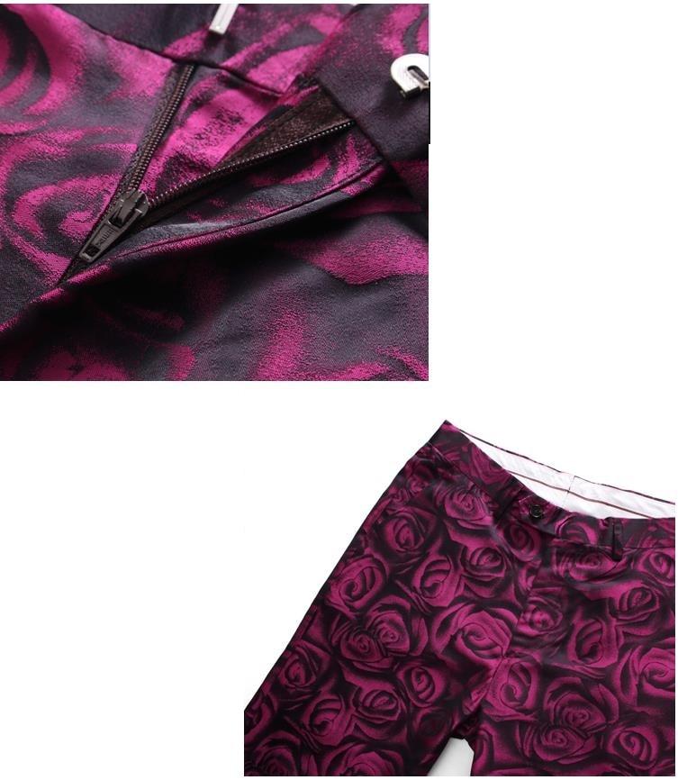 Peaked Lapel Print Styled Dress Suit