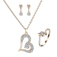 Romantic Charm Love Heart Jewelry set gold Pendant Necklace