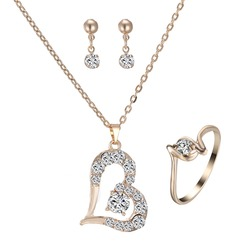 Romantic Charm Love Heart Jewelry set gold Pendant Necklace For Women Girl Wedding Party Engagement Jewelry Gift