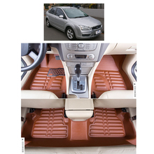 free shipping waterproof fiber leather car floor mats for ford focus mk 2 2nd generation 2004 2010 2009 2008 2006 2005