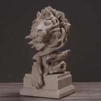 Creative Abstract Lion Head Sculpture Sandstone Lion Head Model Parlor Office Desktop Decoration Crafts Decoration