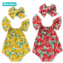 Medoboo Fashion Baby Girls Clothes Print Short Sleeve O-neck Cotton Newborn Bodysuit Bowknot Headband Romper Set 20