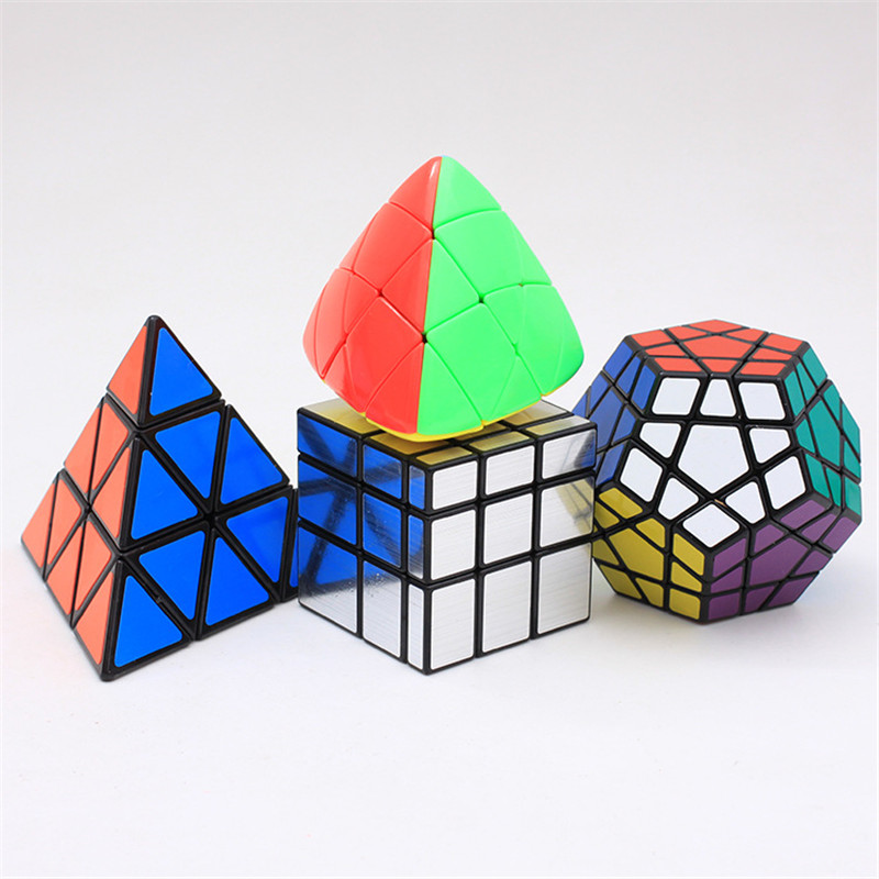 4Pcs/Set Megaminx Dodecahedron 12 Sided Speed Magic Cube Profession Shaped Mirror Puzzle Educational Toys For Kids