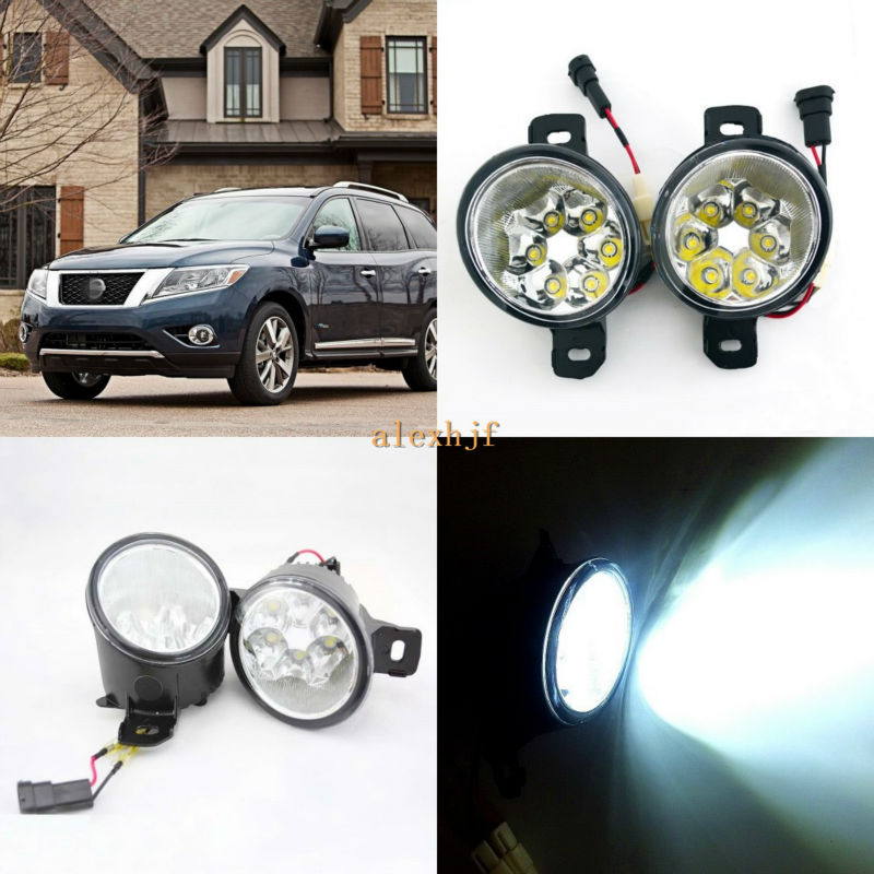July King 18W 6LEDs H11 LED Fog Lamp Assembly Case for Nissan Pathfinder 2013~ON,  6500K 1260LM LED Daytime Running Lights july king 18w 6leds h11 led fog lamp assembly case for nissan versa 2012 on 6500k 1260lm led daytime running lights