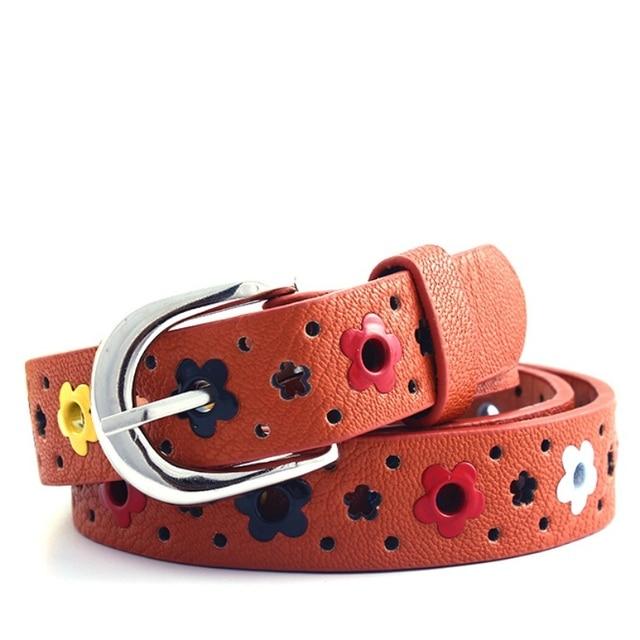 Girl Gift  Hollow butterfly flowers children boys girls lace belt Brand PU leather belts waistband Newest 2018 Women Belts