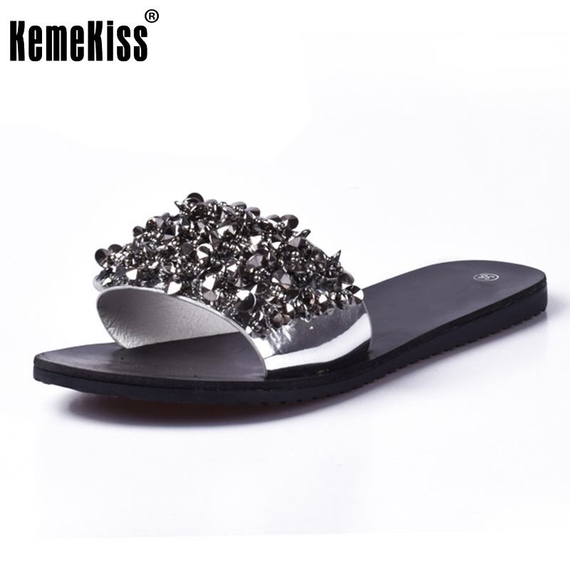 KemeKiss Sandals flip flops summer style Shoes woman wedges Sandals fashion Rivet crystal platform female Slides ladies Shoes new 2018 shoes woman sandals wedges lovely jelly shoes solid casual slippers summer style fashion slides flats free shipping