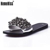 KemeKiss Sandals Flip Flops Summer Style Shoes Woman Wedges Sandals Fashion Rivet Crystal Platform Female Slides