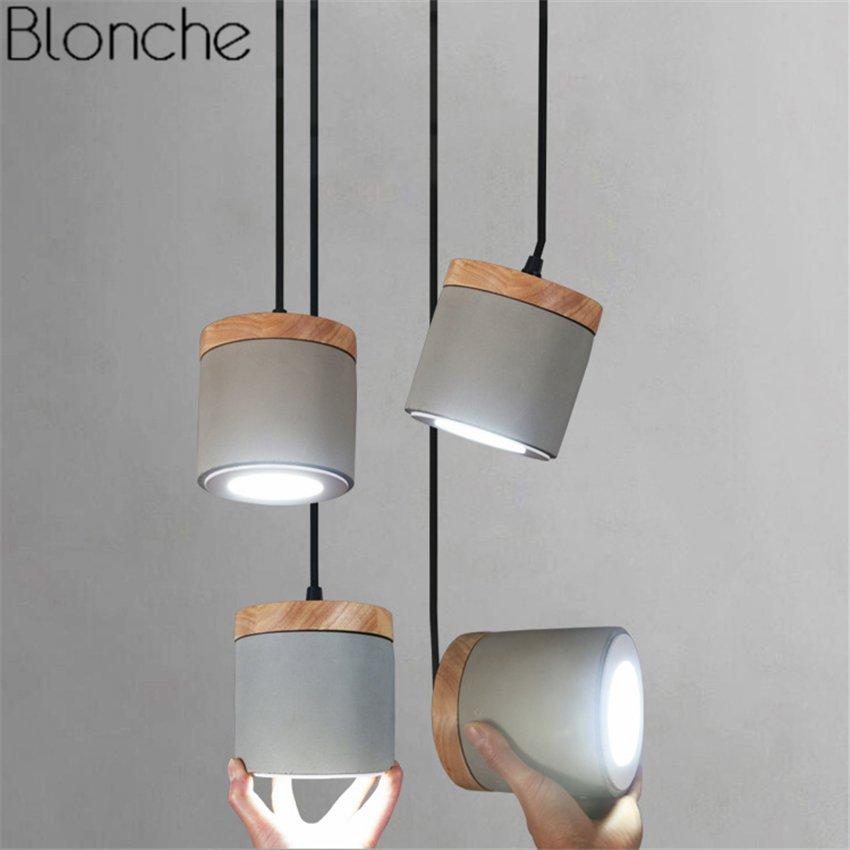 Nordic Cement Wood Pendant Lights Led Spot Hanglamp Hanging Lamp For Living Room Kitchen Indoor Lighting Fixtures Deco Luminaria