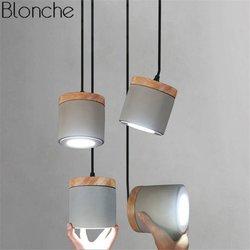 Nordic Zement Holz Anhänger Leuchten Led Spot Hanglamp Hängen Lampe für Wohnzimmer Küche Innen Beleuchtung Leuchten Deco Luminaria