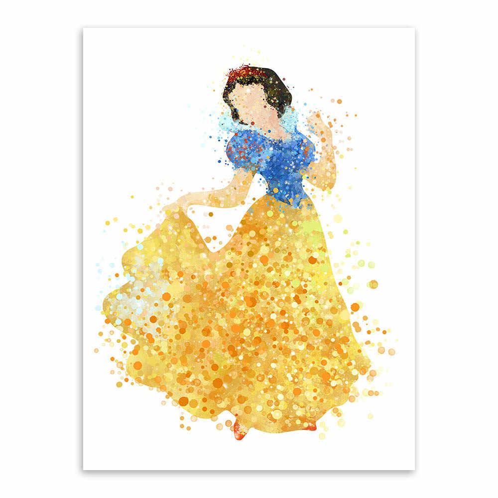 Acuarela Dibujos Animados Películas Princesa Nieve Blanco Lienzo Impresión Cartel Pared Cuadros Chica Niños Habitación Decoración Pintura