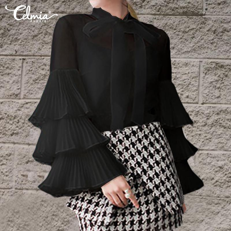 OL Women Blouses Celmia 2019 Top Fashion Ruffled Long Sleeve Shirt Casual Bow Ladies Loose Sexy See Through Blusas Femininas 5XL(China)