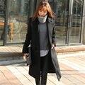 2015 новый женский шерстяная зимнее пальто девушки средний - длинные широкий отложным воротником кашемир пальто дамы шерстяной жакет одежда WY311