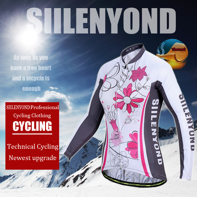 Siilenyond 2019 Winter MTB Bike Cycling Clothing Keep Warm Cycling Jersey Mountain Bicycle Cycling Clothes For Women 1