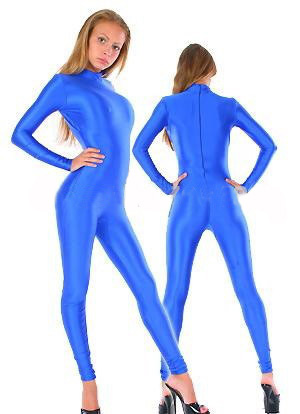 Free Shipping Lycra Spandex Sexy Zentai Catsuit Blue Second Skin Suit Unisex Tight Bodysuit