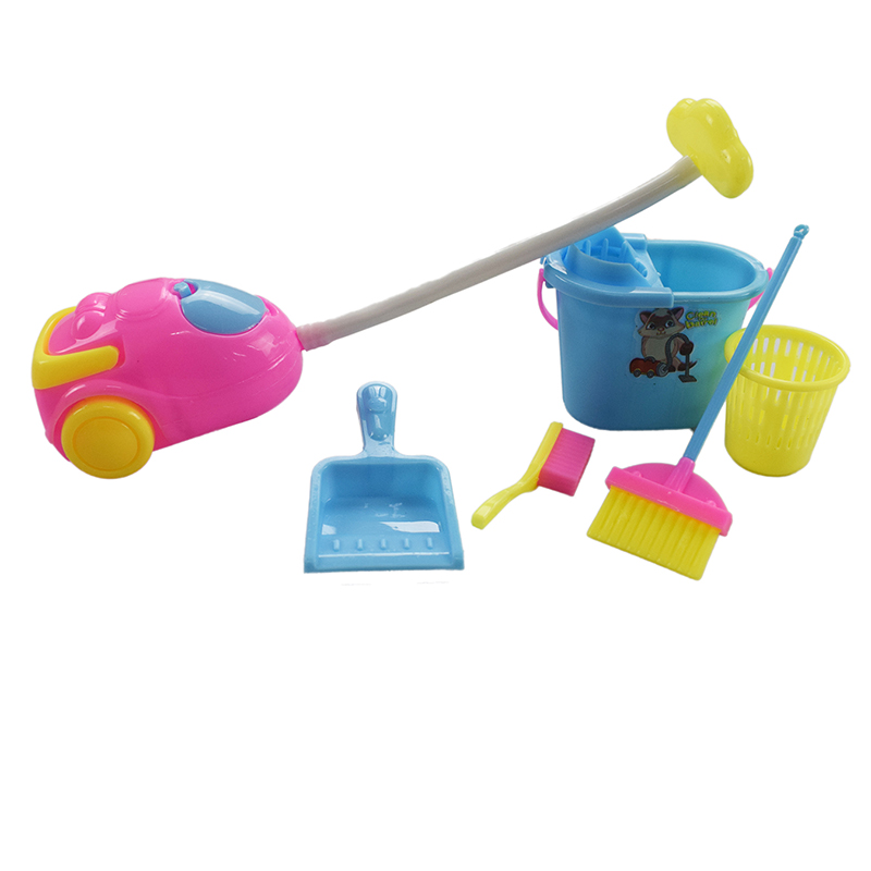 6 Pcs/Set Barbie Household Cleaning Kits Furnishing Home Furniture Cleaning Tools for Kids Gift Barbie Doll Accessories