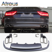 Atreus Grey PP Rear Bumper Diffuser spoiler With Car Exhaust PIpes For 2012 2015 Audi A7 standard hatchback 4 door Accessories