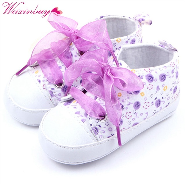 Baby Kids Girls Cotton Floral Infant Soft Sole Shoes Toddler First Walker 3 Colors