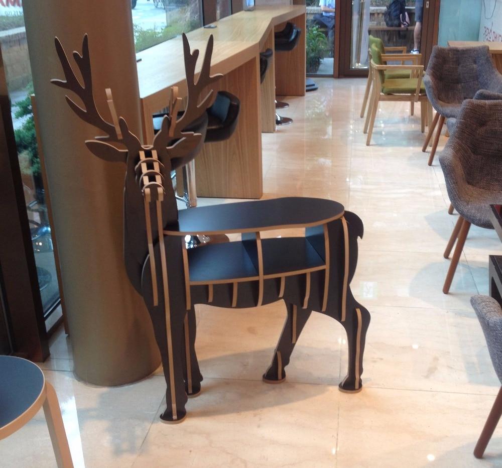 wood deer display stand home furniture decoration wooden elk bookshelf horse display bookshelf wooden furniture