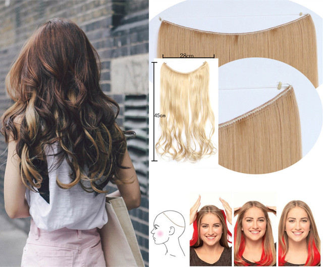 17inch  Hair No Clip Hair Curtain Extension Natural Wave Invisible Synthetic fish Hair Extension Free Shipping