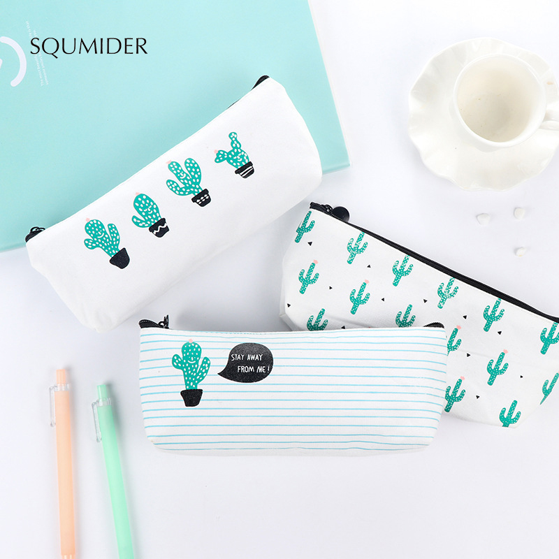 Creative Cute Pencil Case Large Capacity Bag Canvas Zipper Bag for Student School Stationery Supplies
