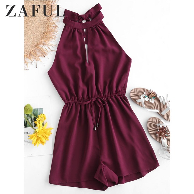 ZAFUL Tie Back Keyhole Flowy Romper Women Summer Round Collar Sleeveless Solid Color Playsuits Fashion Short Jumpsuit Overalls